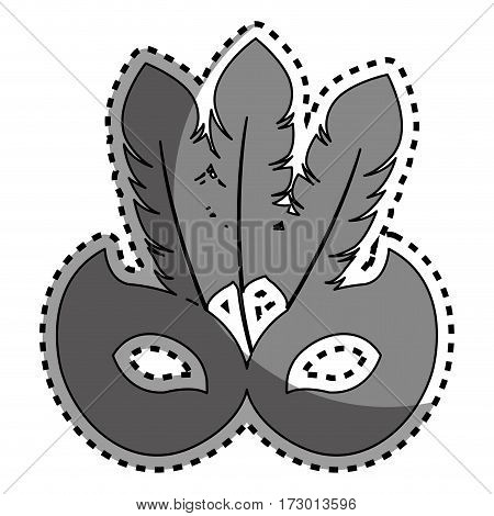 sticker gray silhouette mask carnival celebration icon design vector illustration