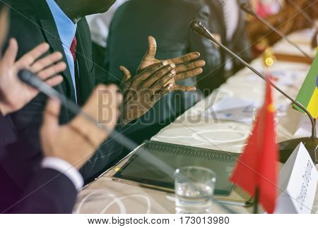 International conference business people clapping for success