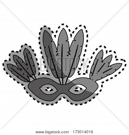 sticker gray silhouette mask with feathers brazil culture vector illustration