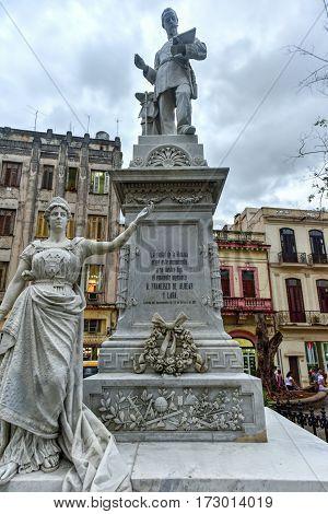 Havana, Cuba - Jan 7, 2017: Statue of Francisco de Albear by Jose Vilalta Saavedra in Havana Cuba