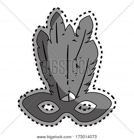 sticker gray silhouette mardi gras mask with feathers vector illustration