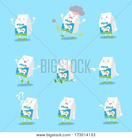 cute cartoon milk do different emotions with blue background
