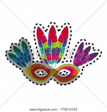 sticker multicolored mask with feathers brazil culture vector illustration