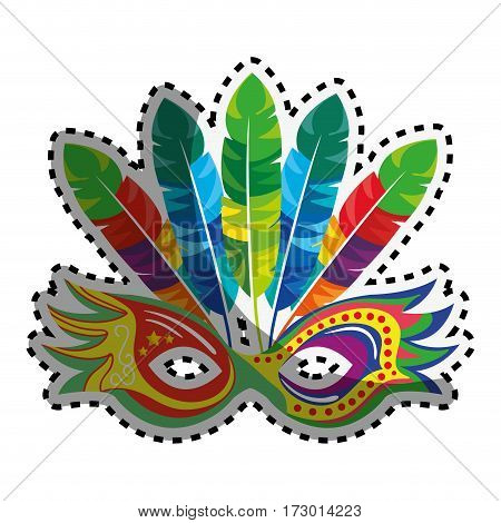 sticker colorful party mask with feathers vector illustration