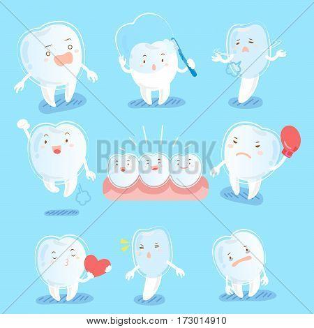 cute cartoon tooth wear brace do different emotions
