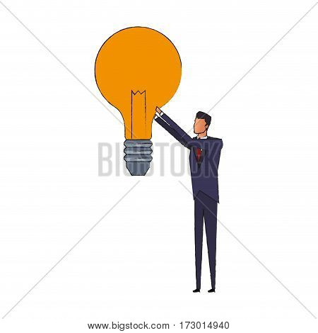 businessman holding lightbulb idea concept icon image vector illustration design