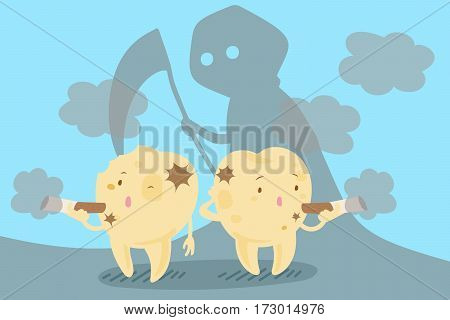 cute cartoon tooth with smoke problem for your health concept
