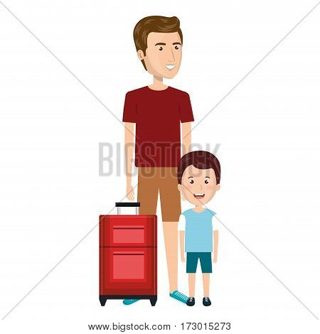 cartoon man in sweatpants with travel briefcase and boy vector illustration