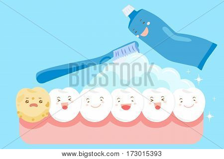 cartoon clean tooth for your health concept