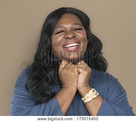 African woman smiling and cheerful face expression