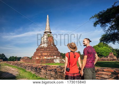 Couple In The Ruins Of Ancient Thailand