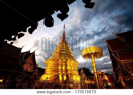 Temple At Night Starry Sky In Thailand
