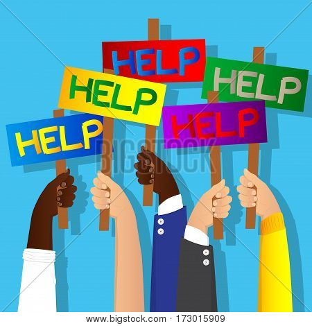 Vector illustrated cartoon hands holding help signs.