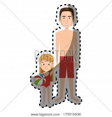 sticker cartoon man with sweatpants and little girl vector illustration