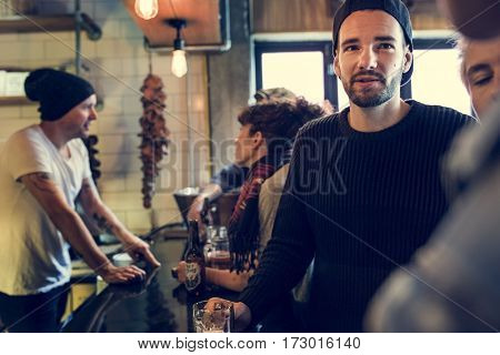 Diverse People Order Drinks Counter Pub