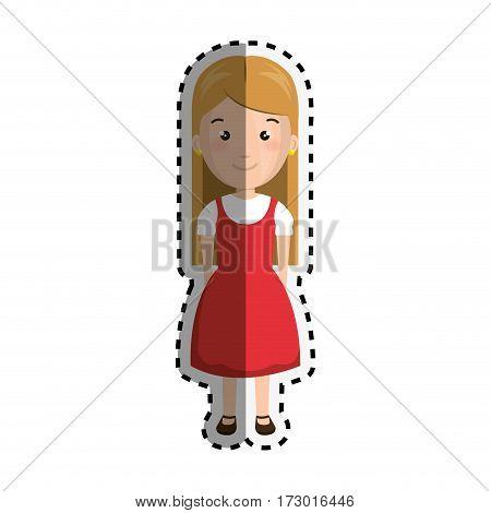 sticker cartoon blond girl with cute dress vector illustration