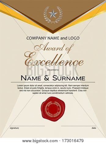 Award of Excellence with laurel wreath and wax seal portrait version