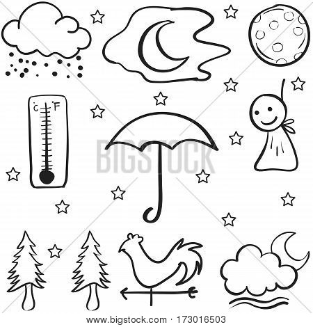 Doodle of weather object collection stock vector art