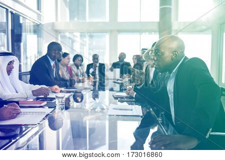 Diverse people meeting with international conference