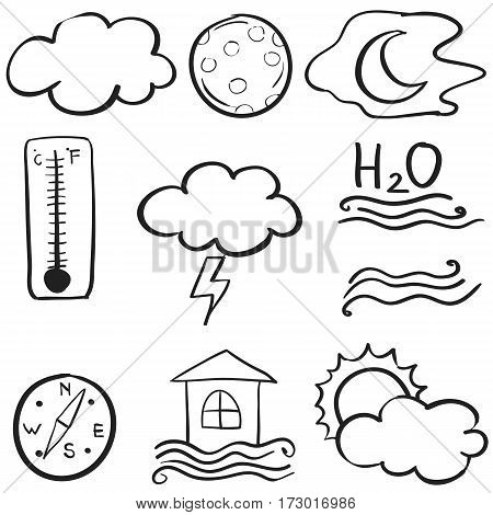 Doodle of weather element set vector collection stock
