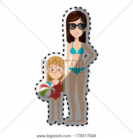 sticker cartoon blond girl with woman in bikini vector illustration