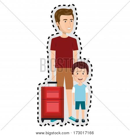sticker cartoon man in sweatpants with travel briefcase and boy vector illustration