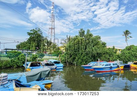 Menumbok,Sabah-Aug 19,2016:Colourful service of boats Menumbok to Labuan island at Menumbok terminal.It is a passenger taxi service operator & tourist attraction to Labuan island,duty-free island