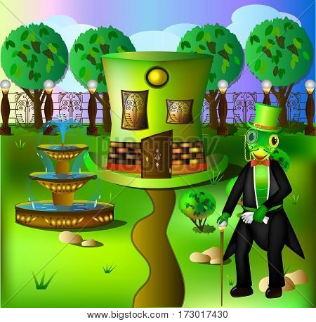 The house in the form of a hat cylinder and the grasshopper living in it