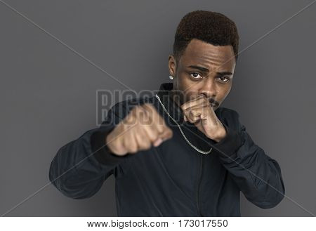 African man with boxing and fight