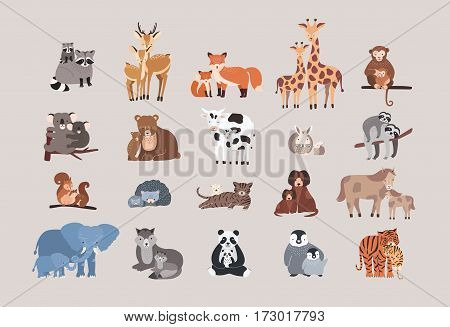Raccoon, deer, fox, giraffe, monkey, koala, bear, cow, rabbit, sloth, squirrel hedgehog cat dog pony horse elephant wolf with cubs Cute animals with babies set