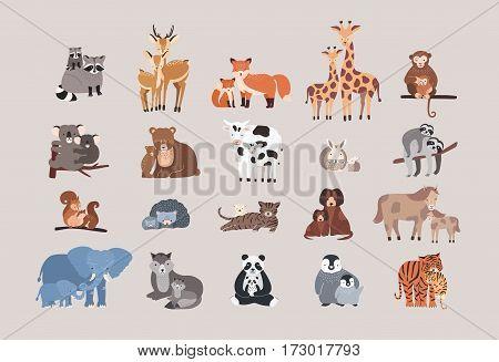 Raccoon, deer, fox, giraffe, monkey, koala, bear, cow, rabbit, sloth, squirrel hedgehog cat dog pony horse elephant wolf with cubs Cute animals with babies set