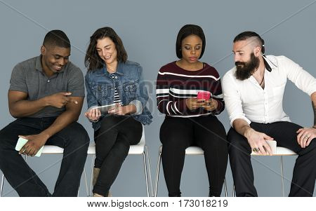 Diverse People Friends Use Mobile Phone