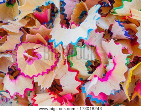 Sharpened color pencil and pencil shavings Texture Background