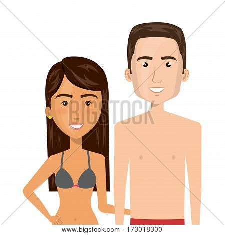 half body cartoon brunette woman and man caucasian with summer swimsuit