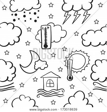 Illustration of weather doodle set collection stock