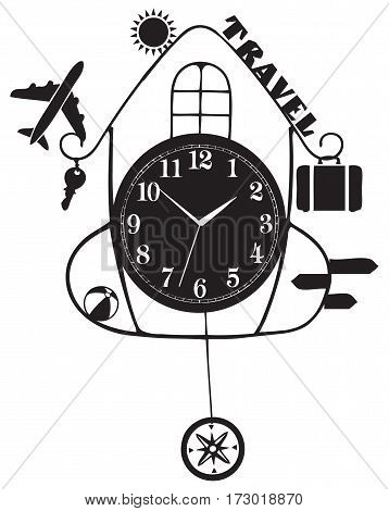 Stylized wall clock travel airplane sun and other travel attributes.
