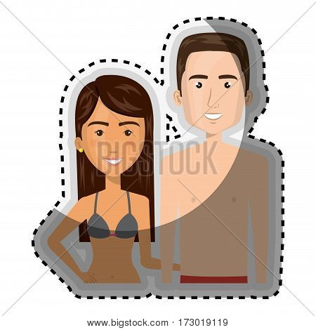 sticker half body cartoon brunette woman and man caucasian with summer swimsuit vector illustration
