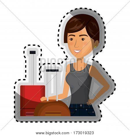 sticker half body cartoon short hair woman with pair travel briefcases vector illustration