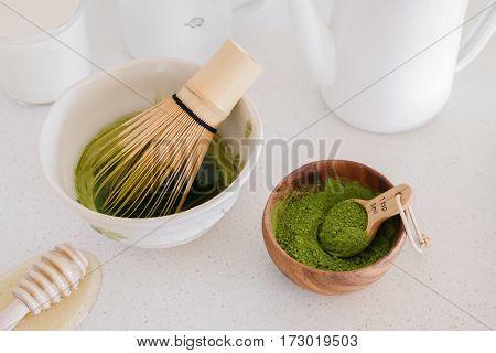 matcha green tea latte ingredients healthy trendy drinks copy space background