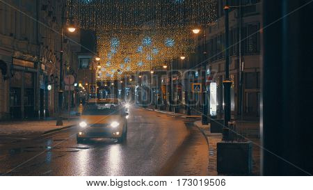 Old part of Moscow with Christmas illumination