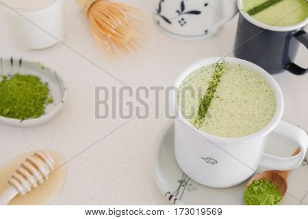 Homemade Matcha Green Tea Latte, Healthy Trendy Drinks
