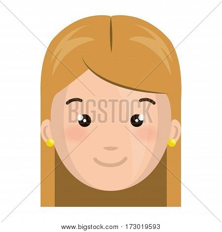 colorful silhouette front view girl face vector illustration