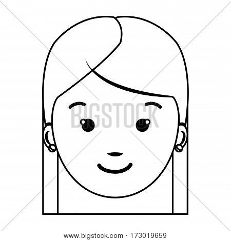 contour front view girl face icon vector illustration