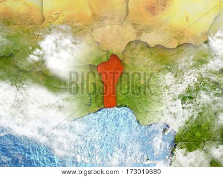 Benin On Map With Clouds