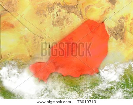 Niger On Map With Clouds