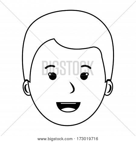 contour front view boy face vector illustration