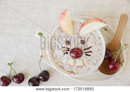 Bunny Rabbit Oatmeal Porridge Easter Breakfast, Fun Food Art For Kids