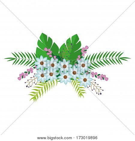 flowers bunch floral design with leaves vector illustration