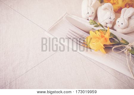 Yellow Flowers And Bunny Rabbit, Easter Table Setting Copy Space Background, Toning