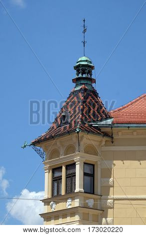 PTUJ, SLOVENIA - JULY 02: Architecture of Ptuj, town on the Drava River banks, Lower Styria Region, Slovenia on July 02, 2016.